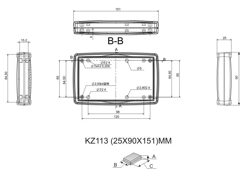 Пластиковый корпус KZ113 (25x90x151)