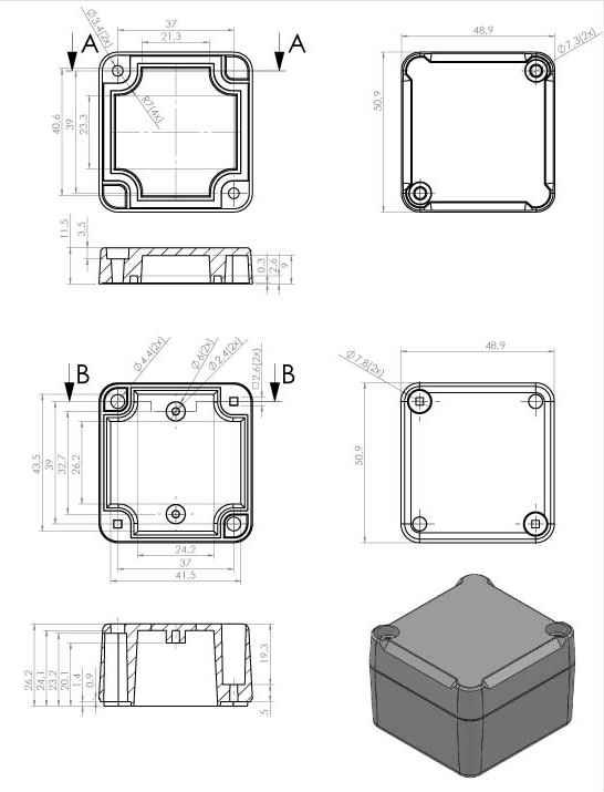 Пластмассовый корпус KZ116 (37x49x51)