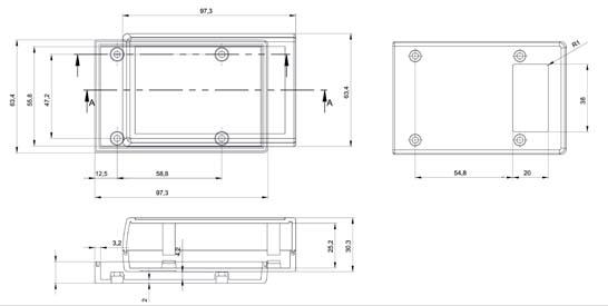 Пластмассовый корпус KZ119 (30x63x97)