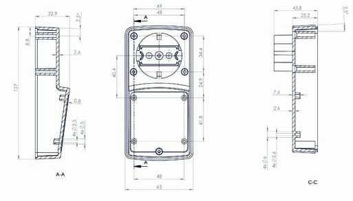 Пластмассовый корпус KZ120 (57x64x129)
